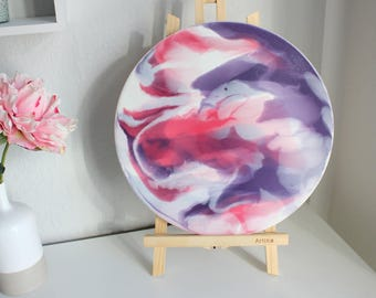 Original fluid-Acrylic abstract, purple, pink, white on canvas