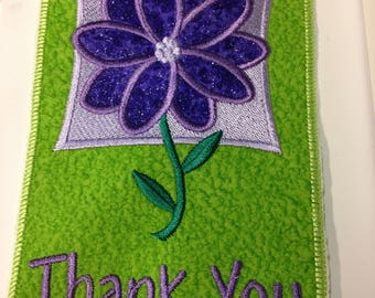 """Beautiful """"Thank you""""  Fabric Post card.  Can be mailed as is.  Machine embroidered, Hand made, all occasion,cotton,"""