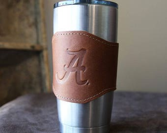 The Officially Licensed Alabama Apollo Leather Drink Cooler Sleeve – for 20oz Yeti Rambler Tumbler