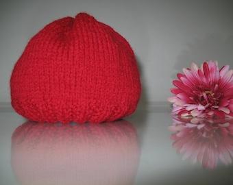 Red baby hat, baby girl hat, baby boy hat, wool baby hat, baby cap