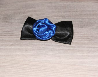 Hair clip pink blue and black satin bow