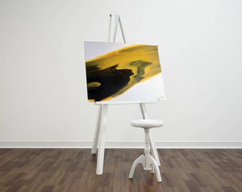 Black/Yellow Pouring Painting - 16x20 inches