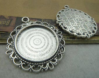 Cabochons Pendant Antique Silver Tray Setting 25 mm  Bezel Trays, 1 Inch Trays DIY Jewelry Findings 20 pcs
