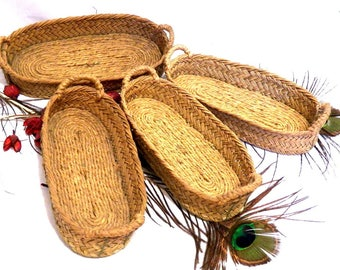Antique Food Baskets, Bread Slices Baskets, Vintage Basketry, Handmade Baskets, Kitchen Baskets, Esparto Bread Baskets Natural Fiber Baskets