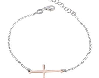 "Sterling Silver Cross Bracelet 7"" to 8"" inches extendable + Rose Gold Plated"