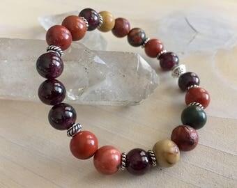 Natural Gemstone Bracelet - Handmade Gemstone Bracelet - Healing Crystal Bracelet - Root Chakra Bracelet - Yoga Bracelet - Meditation