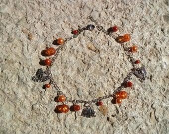 orange ankle chain, charm elephant (customizable)