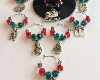 Christmas wine charms, Wine Glass Charms, Wine party