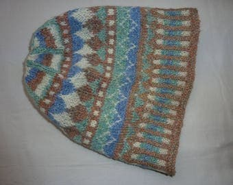 Fair Isle hat, hand knitted,  wool, soft natural shades knitted double