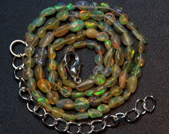 "Natural Ethiopian Opal Tumble 16"" Inch Strand Smooth Polish Size 3x4 to 4x6 mm AAA opal  Code- OT10"