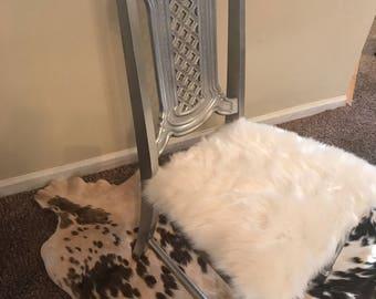 Custom silver fur chair
