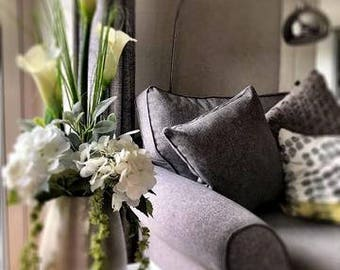 ARTIFICIAL ARRANGEMENT White Arum lillies, Hydrangeas,Amaranthus & curled bear grass in brushed metal vase