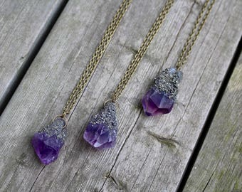 Pyrite Amethyst Point Necklaces - Various Sizes