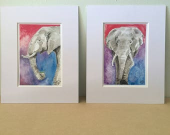 Art print 5x7 Elephant set of two