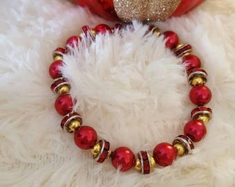 Handmade red glass beaded bracelet with silver, gold, rhinestone accents, women's bracelet, valentines day gift, unique bracelet