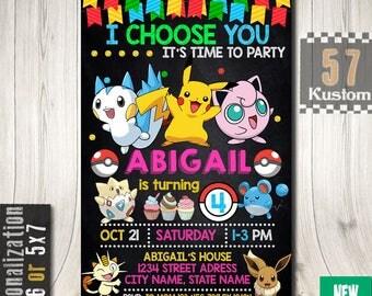 Pokemon Birthday Invitation, Pokemon Birthday Party, Pokemon Invitation, Pokemon Birthday Decorations, Pokemon Invitation For Girl
