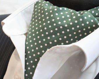 Cravat Ascot UK Made Dark Green / White Polka Dot+Hanky.Premium Cotton.