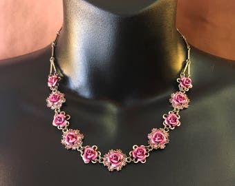 Pink Rose Necklace/Choker