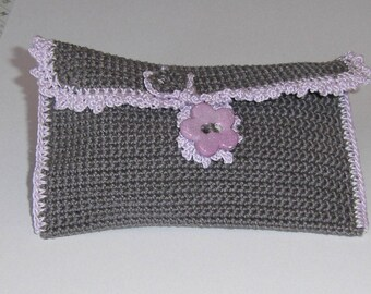 Small pouch in grey and purple flowers