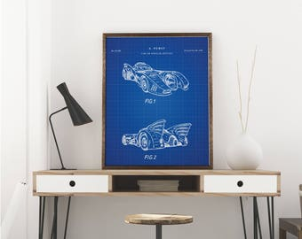 Batman Batmobile Printables, Batman Car, Batman Decor, Batman Wall Art - Vintage printable patent poster artwork drawing