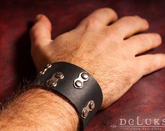 Bikers  Bracelet , Leather Bracelet - Leather Biker Cuff - Motorcycle Bracelet - Studded Genuine Leather Motorcycle Buckle Bracelet