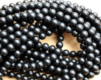 8mm Matte Black Onyx beads, full strand, grade A, natural stone beads, round, 80104