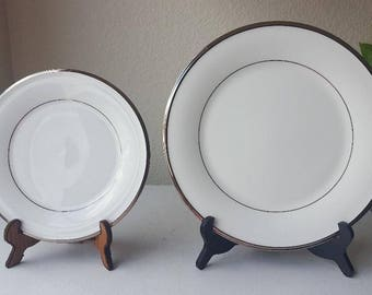 2 Piece Lenox SOLITAIRE Platinum Trim DIMENSION 2 COLLECTION – Dinner & Salad