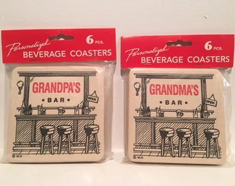VTG 1993 Grandpa & Grandma's Bar Drink Coasters NIP