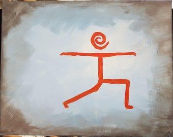 10x8 acrylic painting on canvas, Warrior II yoga pose, stick figure