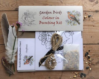 Birds colour in bunting kit