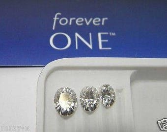 Forever One Moissanite Oval 10x8 mm 3 ct equivalent Charles and Colvard colorless D E F
