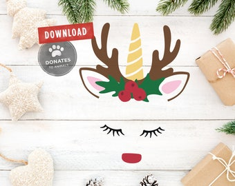 Christmas SVG | Reindeer SVG | Unicorn SVG | Christmas Shirt Svg Holiday Svg Clipart Rudolph Face Head Unicorn Svg Cut File for Circuit Dxf