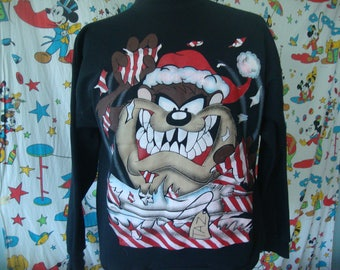 Vintage 90's Looney Tunes TAZ Tasmanian Devil Christmas 1995 adult Sweatshirt Sz XL