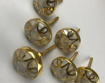 Stunning Set of 6 X Golden Mother of Pearl Knobs with Brass Detail
