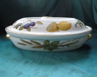 Porcelain Oven To Table Classic Tableware Oval Serving Dish Royal Worcester  Evesham Made In England