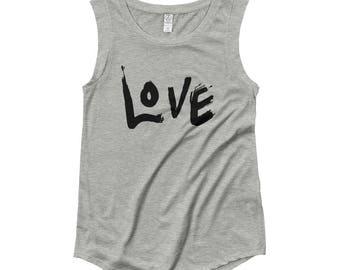 LOVE Brush Stroke Ladies' Cap Sleeve T-Shirt