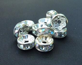 10 pearls 8mm silvery metal, rhinestone rondelles