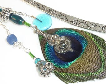 "Large bookmark silver metal ""Peacock feather"""