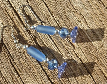 "Silver crystal earrings ""tube sky"""