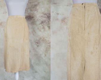 80s Suede Skirt, High Waist Suede Skirt, Pencil Skirt, 1980 Midi Skirt, Size M, Medium