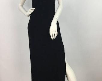 1990s black spandex maxi dress/90s Evolution maxi
