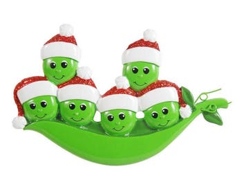 New Peapod Family Of 6 Personalized Christmas Ornament