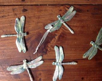 Handmade ceramic green dargonfly. Perfect for Christmas decorations, home decor, wedding