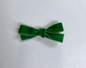 Green Velvet Schoolgirl Bow