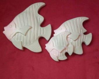 Miller Studio Chalkware Fish Set of 2  1992