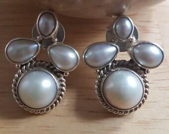 Pearl Gemstone Sterling Silver Earrings