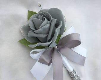 Artificial Wedding Flowers, Buttonholes, Boutonnieres, Ladies Corsage, Grey Roses with crystals and diamantes