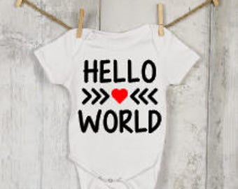 Hello World Onesie®, Funny Onesies®, Funny Bodysuits, Baby, Baby Clothing, Baby Boy, Baby Girl