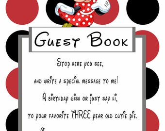 Minnie Mouse Red Guestbook Sign for 3 year old girl