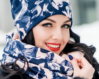 Bell Set Hat and Infinity Scarf Large Wraparound Warm Winter Beanie Neckwarmer Scarf Christmas Gift For Her